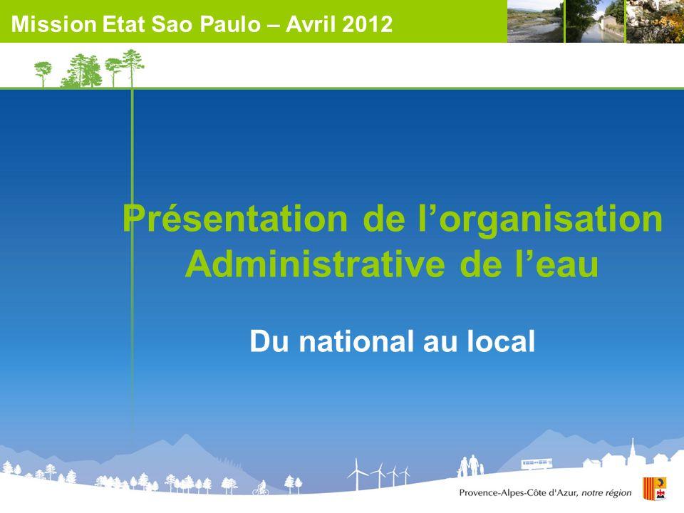 Présentation de l'organisation Administrative de l'eau