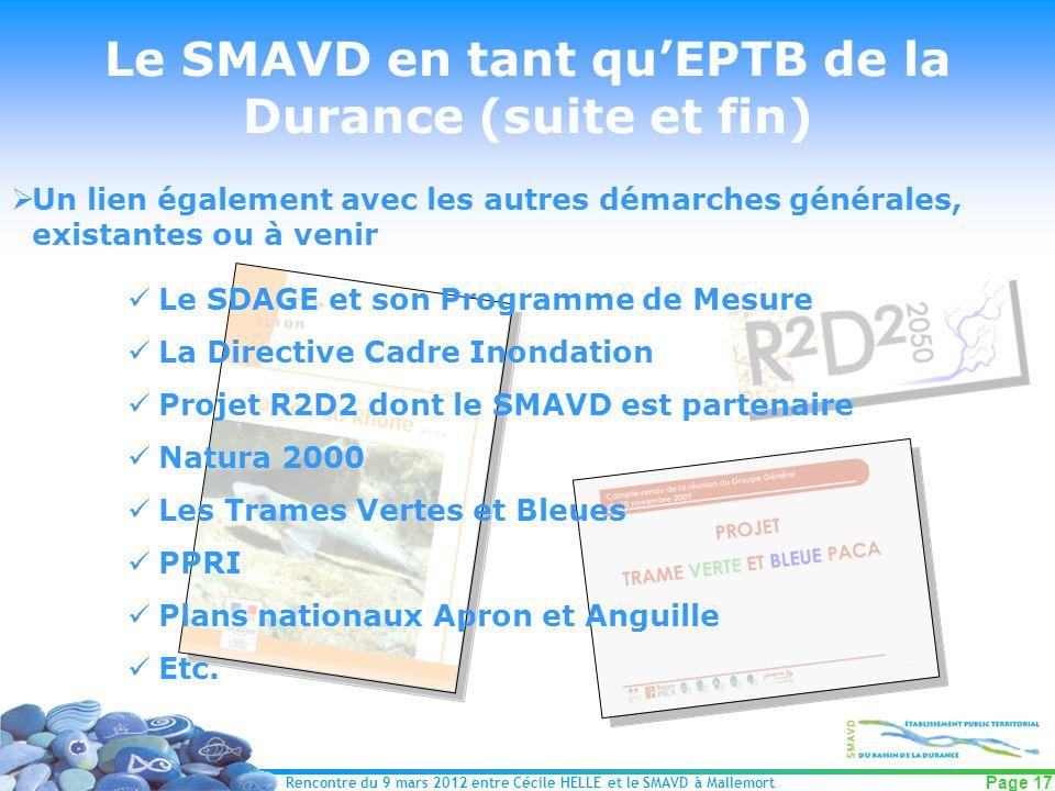 Le SMAVD en tant qu'EPTB de la Durance (suite et fin)