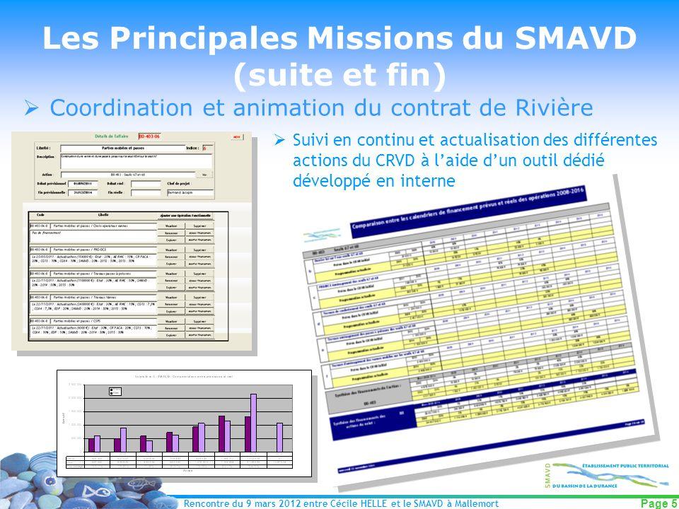 Les Principales Missions du SMAVD (suite et fin)