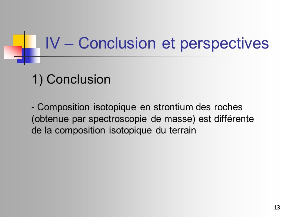 IV – Conclusion et perspectives