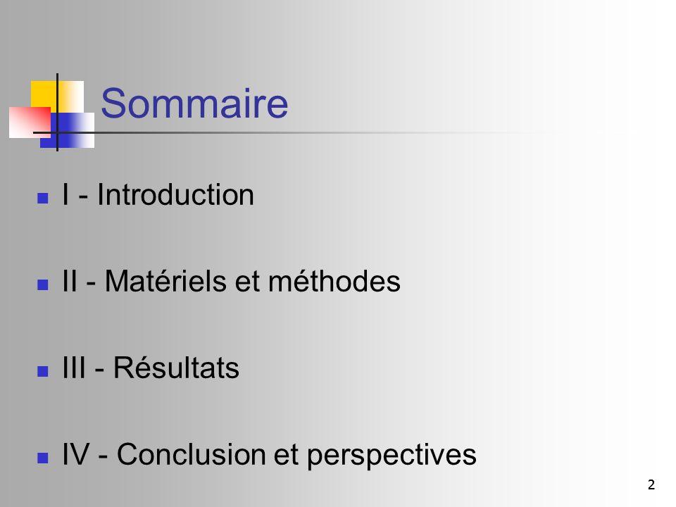 Sommaire I - Introduction II - Matériels et méthodes III - Résultats