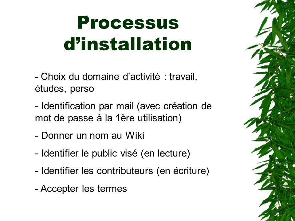 Processus d'installation