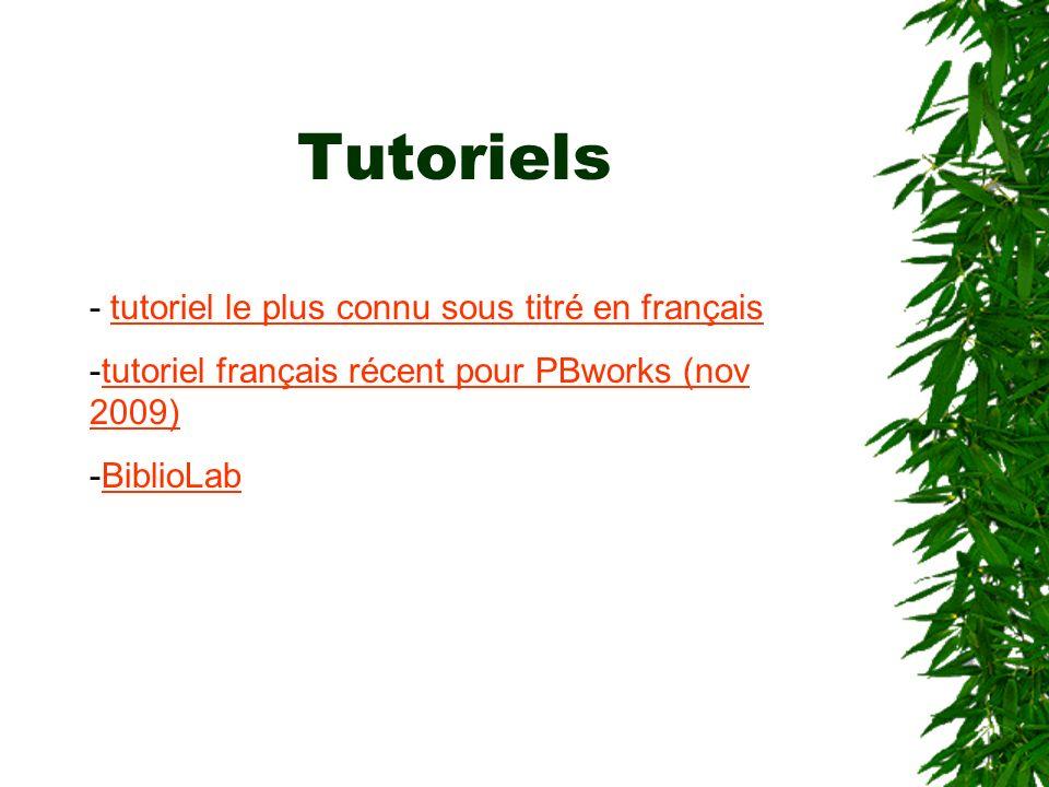 Tutoriels - tutoriel le plus connu sous titré en français