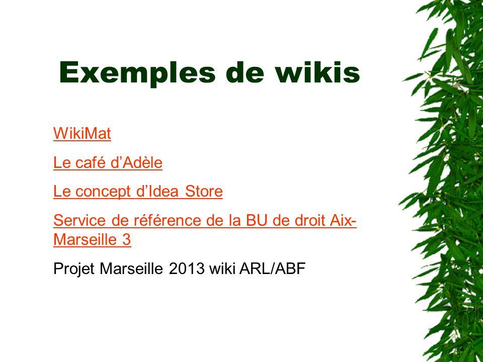 Exemples de wikis WikiMat Le café d'Adèle Le concept d'Idea Store