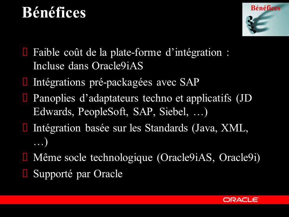 Bénéfices Faible coût de la plate-forme d'intégration : Incluse dans Oracle9iAS. Intégrations pré-packagées avec SAP.
