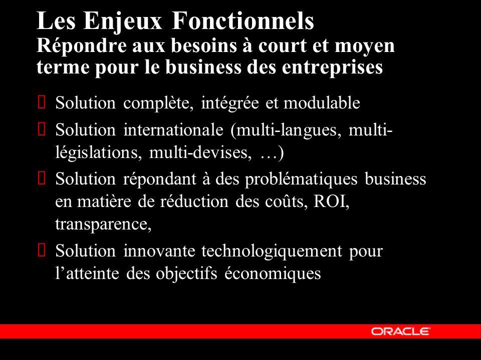 Les Enjeux Fonctionnels Répondre aux besoins à court et moyen terme pour le business des entreprises