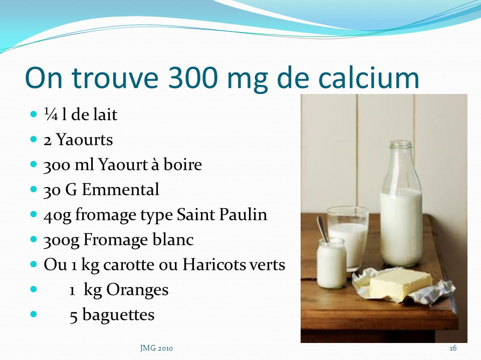 On trouve 300 mg de calcium ¼ l de lait 2 Yaourts