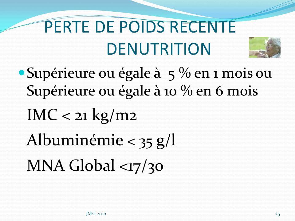 PERTE DE POIDS RECENTE DENUTRITION