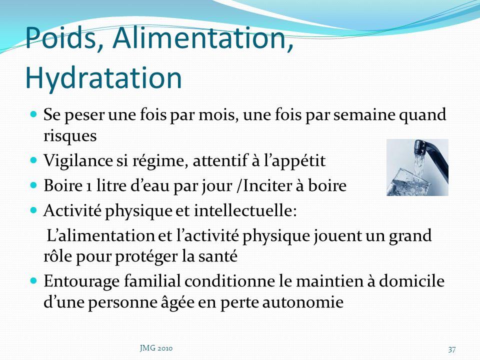 Poids, Alimentation, Hydratation