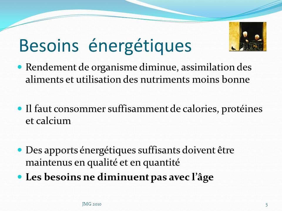 Besoins énergétiques Rendement de organisme diminue, assimilation des aliments et utilisation des nutriments moins bonne.