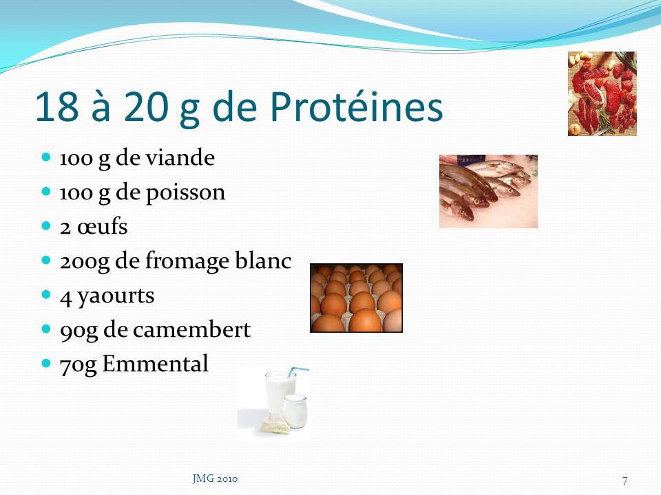 18 à 20 g de Protéines 100 g de viande 100 g de poisson 2 œufs