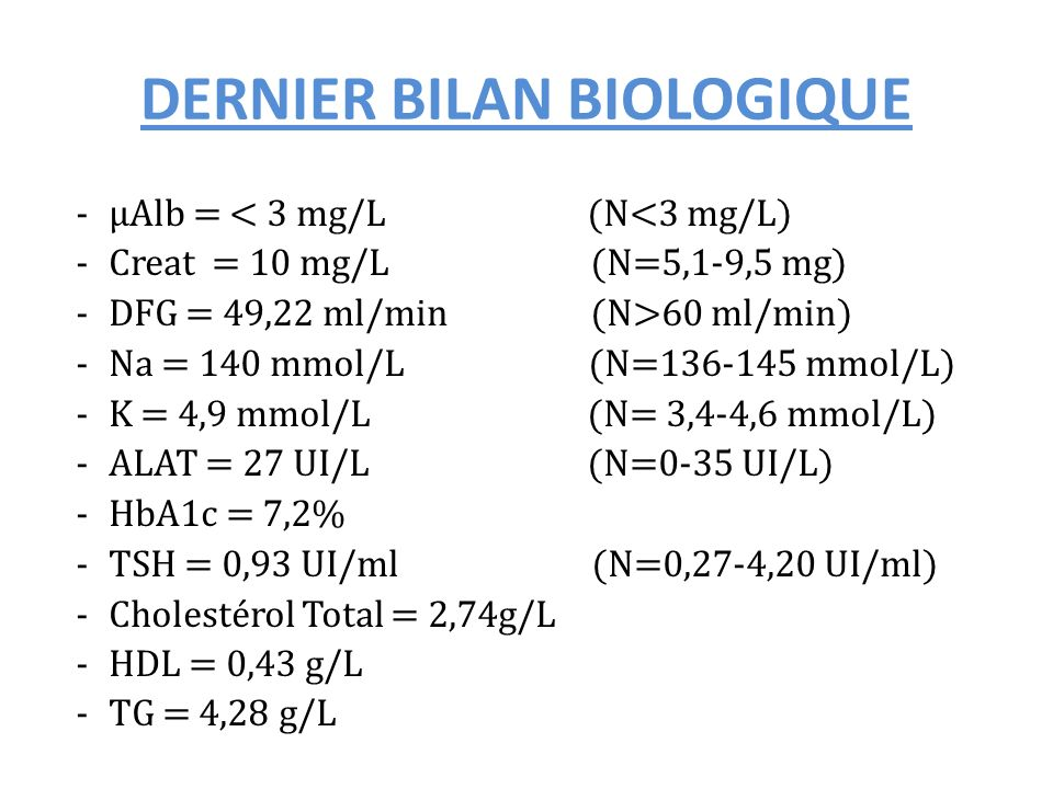 DERNIER BILAN BIOLOGIQUE