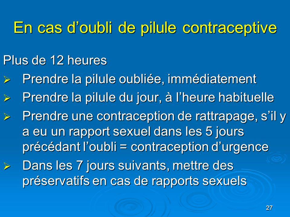 En cas d'oubli de pilule contraceptive