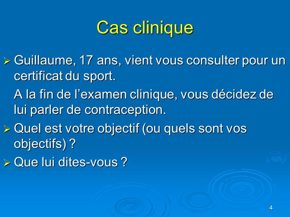 Cas clinique Guillaume, 17 ans, vient vous consulter pour un certificat du sport.