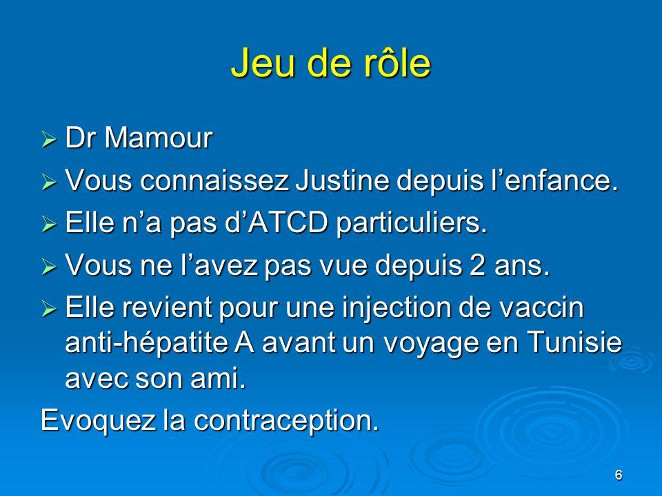 Jeu de rôle Dr Mamour Vous connaissez Justine depuis l'enfance.