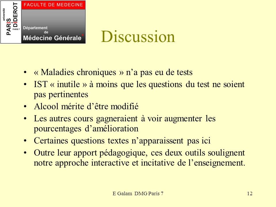 Discussion « Maladies chroniques » n'a pas eu de tests