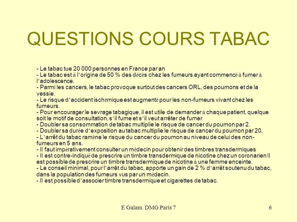 QUESTIONS COURS TABAC