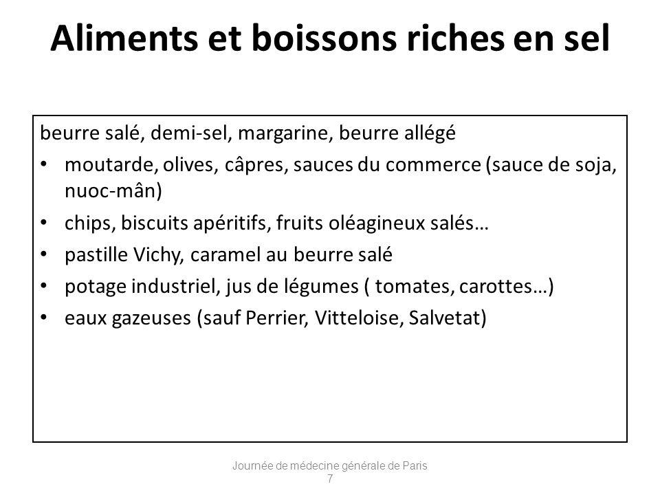 Aliments et boissons riches en sel