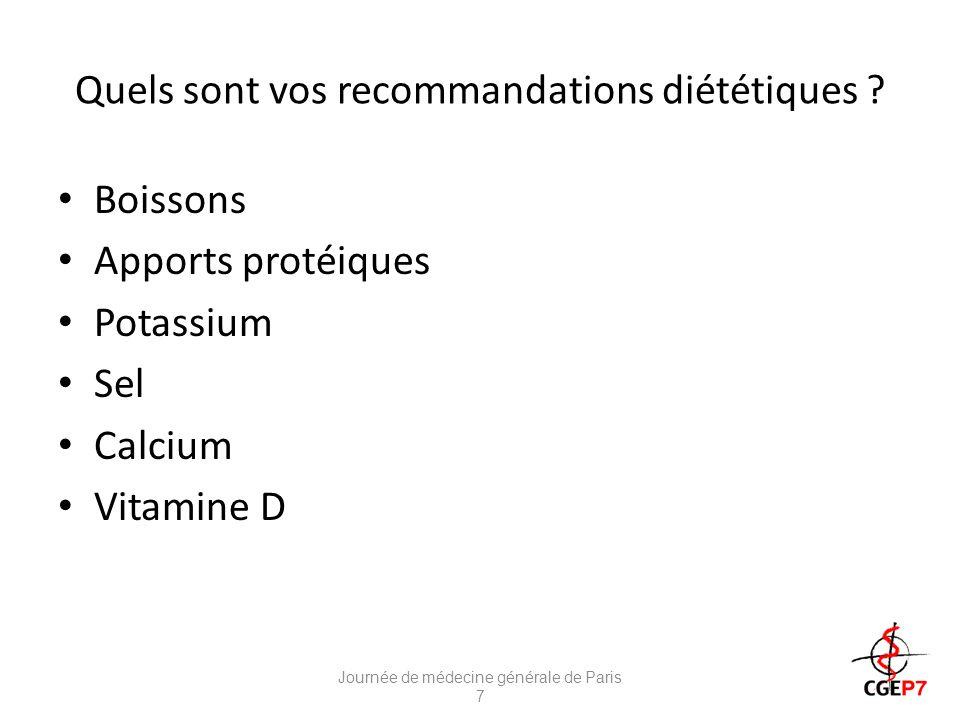 Quels sont vos recommandations diététiques