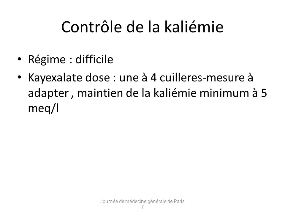Contrôle de la kaliémie