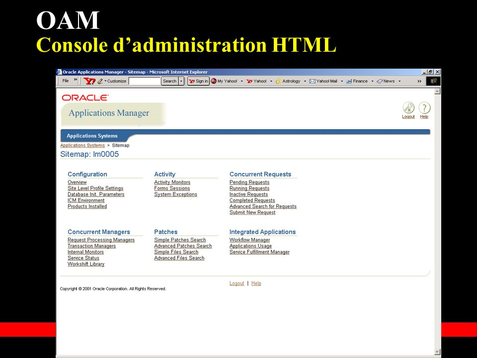 OAM Console d'administration HTML