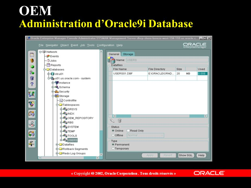 OEM Administration d'Oracle9i Database