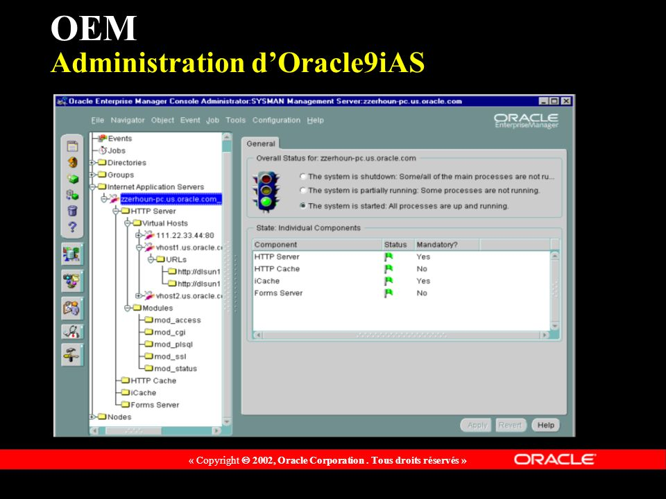 OEM Administration d'Oracle9iAS