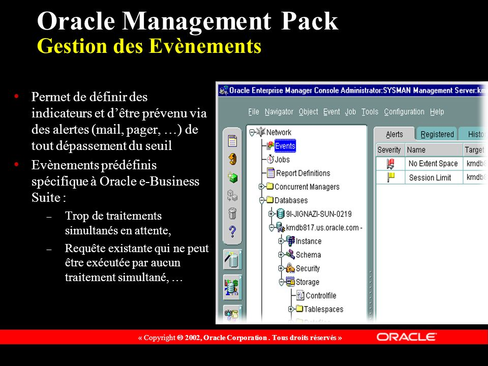 Oracle Management Pack Gestion des Evènements