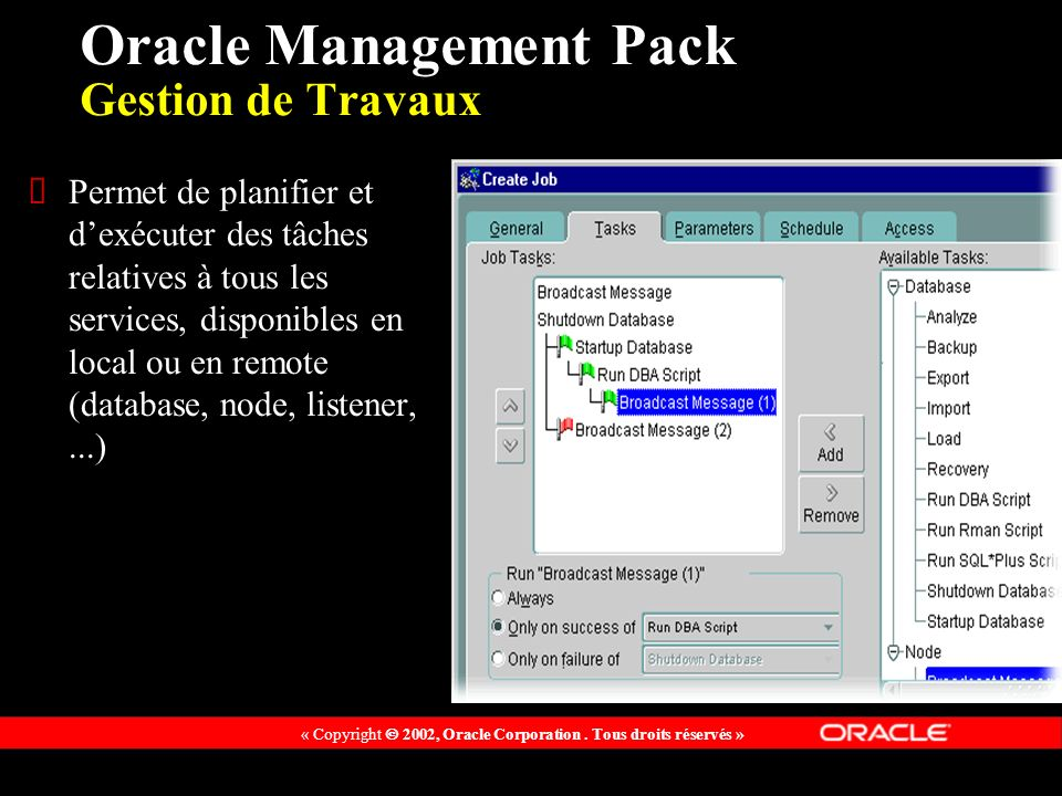 Oracle Management Pack Gestion de Travaux