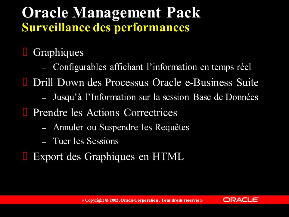 Oracle Management Pack Surveillance des performances