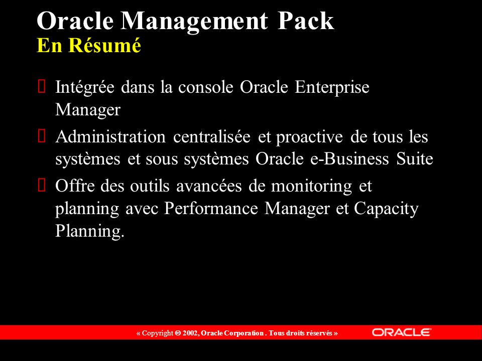 Oracle Management Pack En Résumé