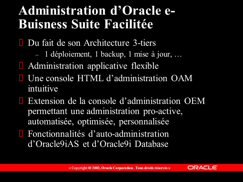 Administration d'Oracle e-Buisness Suite Facilitée