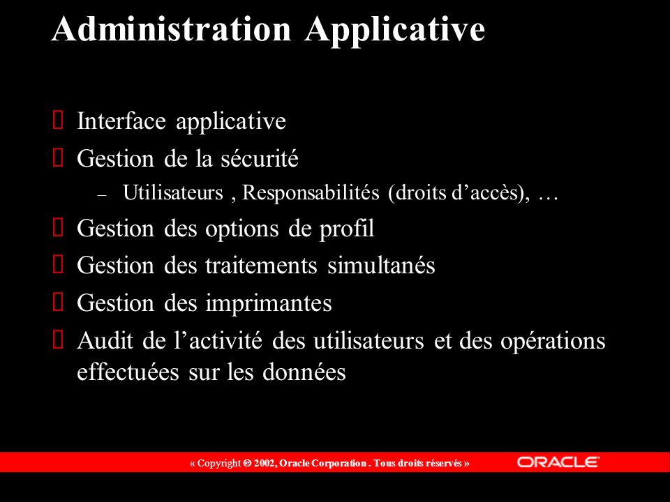 Administration Applicative