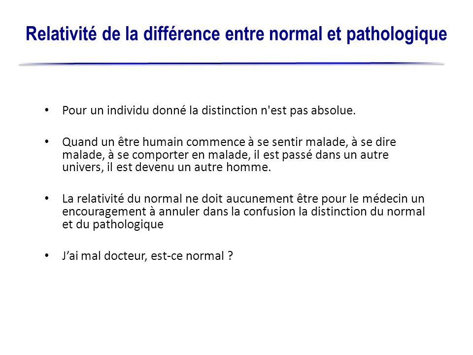 Relativité de la différence entre normal et pathologique