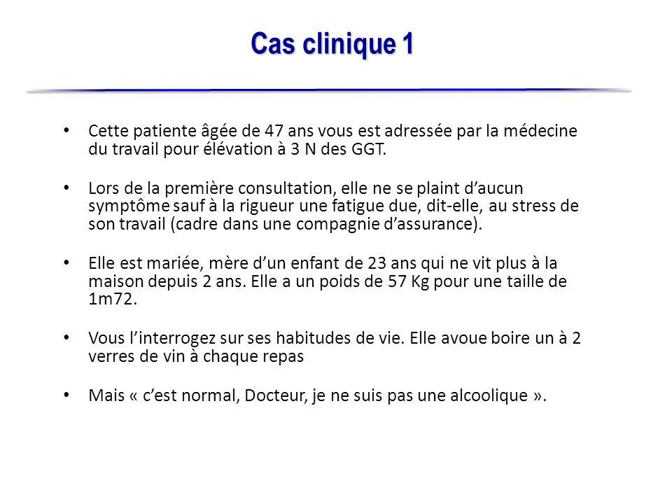 Cas clinique 1Cette patiente âgée de 47 ans vous est adressée par la médecine du travail pour élévation à 3 N des GGT.