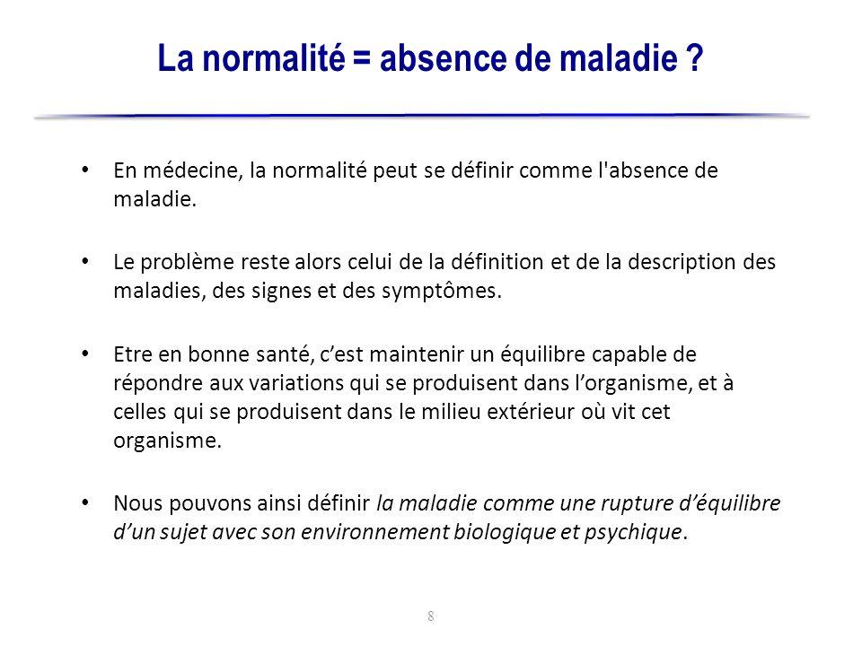La normalité = absence de maladie