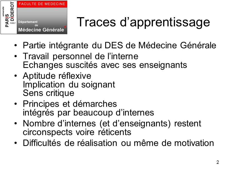 Traces d'apprentissage
