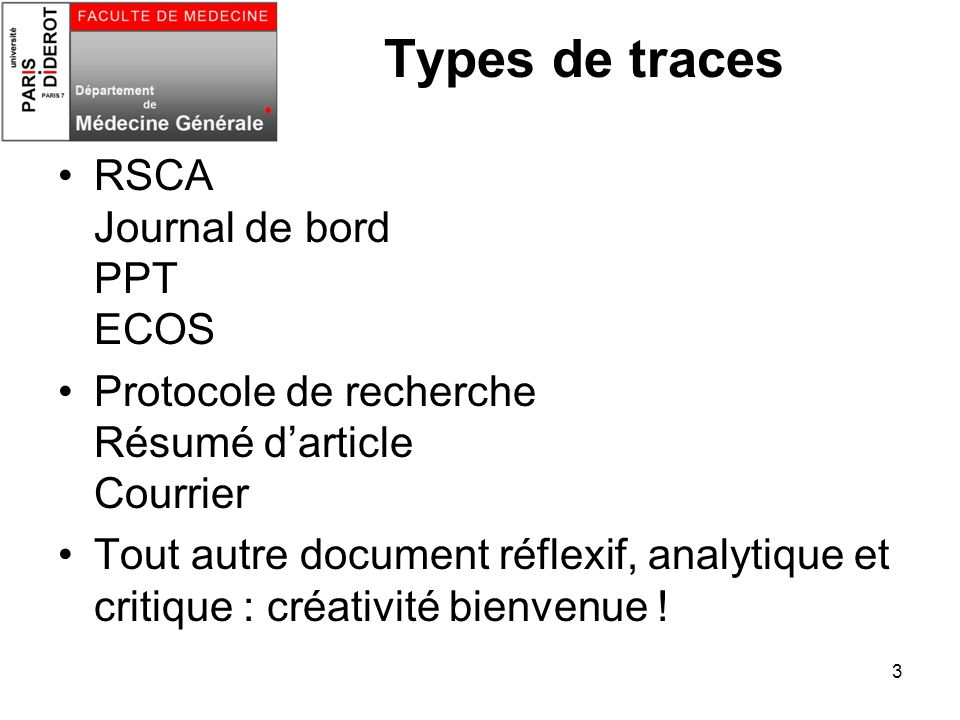 Types de traces RSCA Journal de bord PPT ECOS