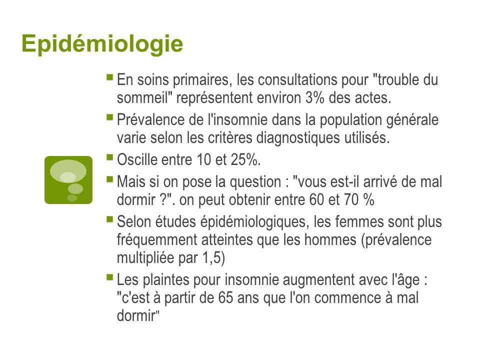 Epidémiologie En soins primaires, les consultations pour trouble du sommeil représentent environ 3% des actes.