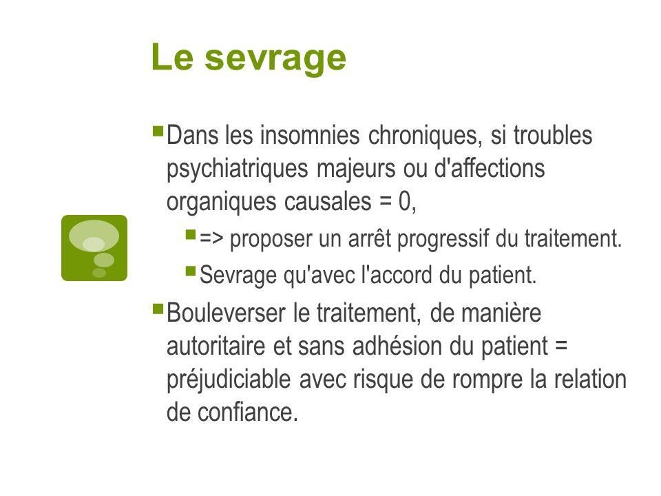Le sevrage Dans les insomnies chroniques, si troubles psychiatriques majeurs ou d affections organiques causales = 0,