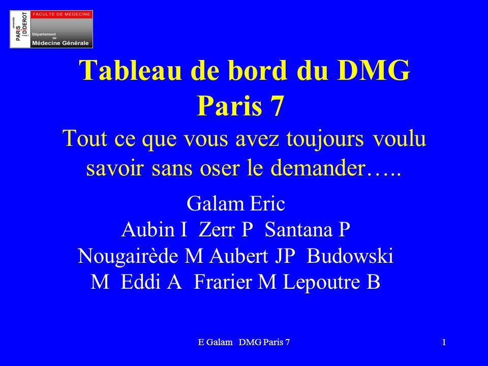 Tableau de bord du DMG Paris 7 Tout ce que vous avez toujours voulu savoir sans oser le demander…..