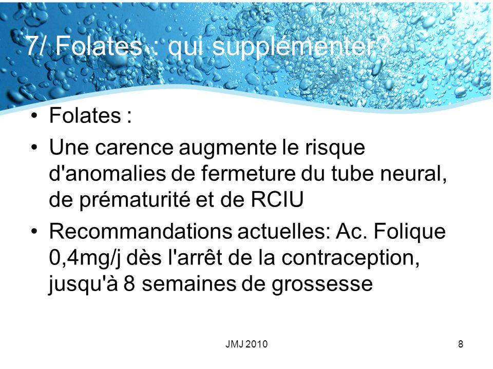 7/ Folates : qui supplémenter
