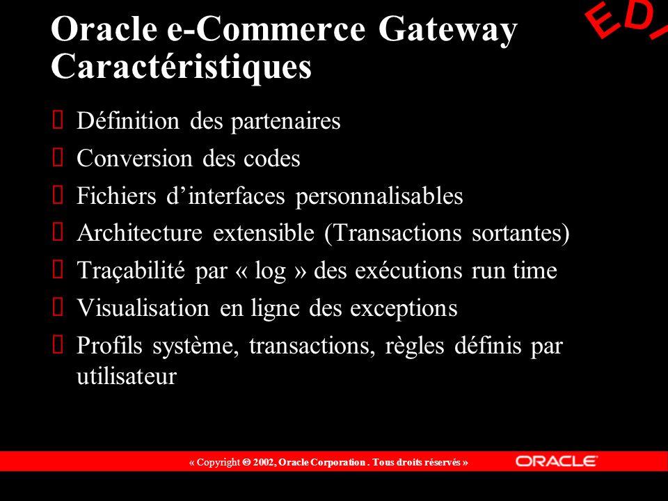 Oracle e-Commerce Gateway Caractéristiques