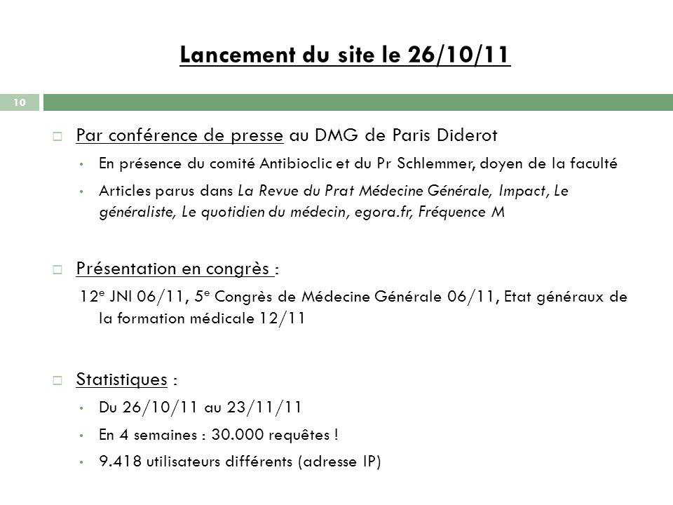 Lancement du site le 26/10/11 Par conférence de presse au DMG de Paris Diderot.