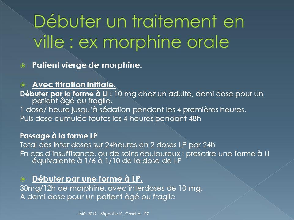 Débuter un traitement en ville : ex morphine orale