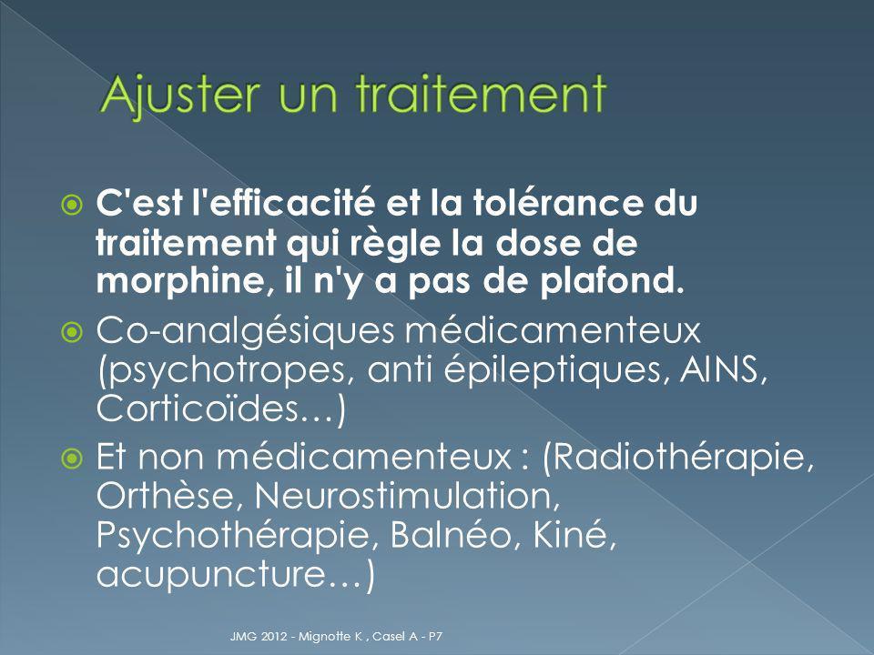 Ajuster un traitement C est l efficacité et la tolérance du traitement qui règle la dose de morphine, il n y a pas de plafond.