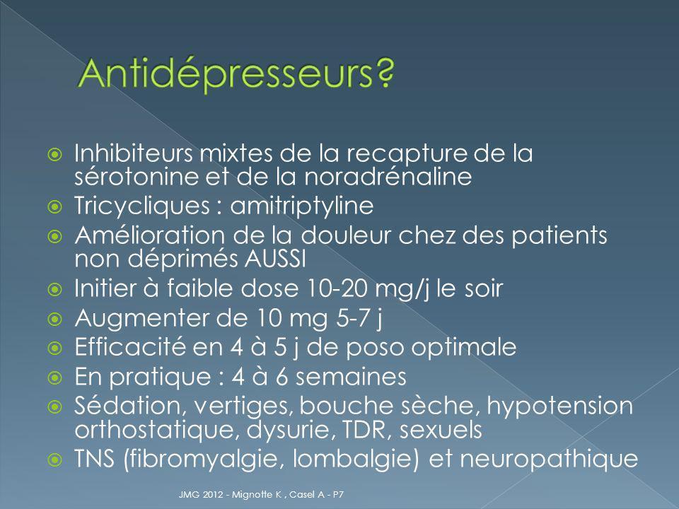 Antidépresseurs Inhibiteurs mixtes de la recapture de la sérotonine et de la noradrénaline. Tricycliques : amitriptyline.