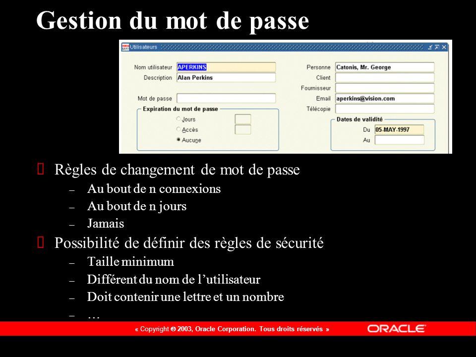 Gestion du mot de passe Règles de changement de mot de passe