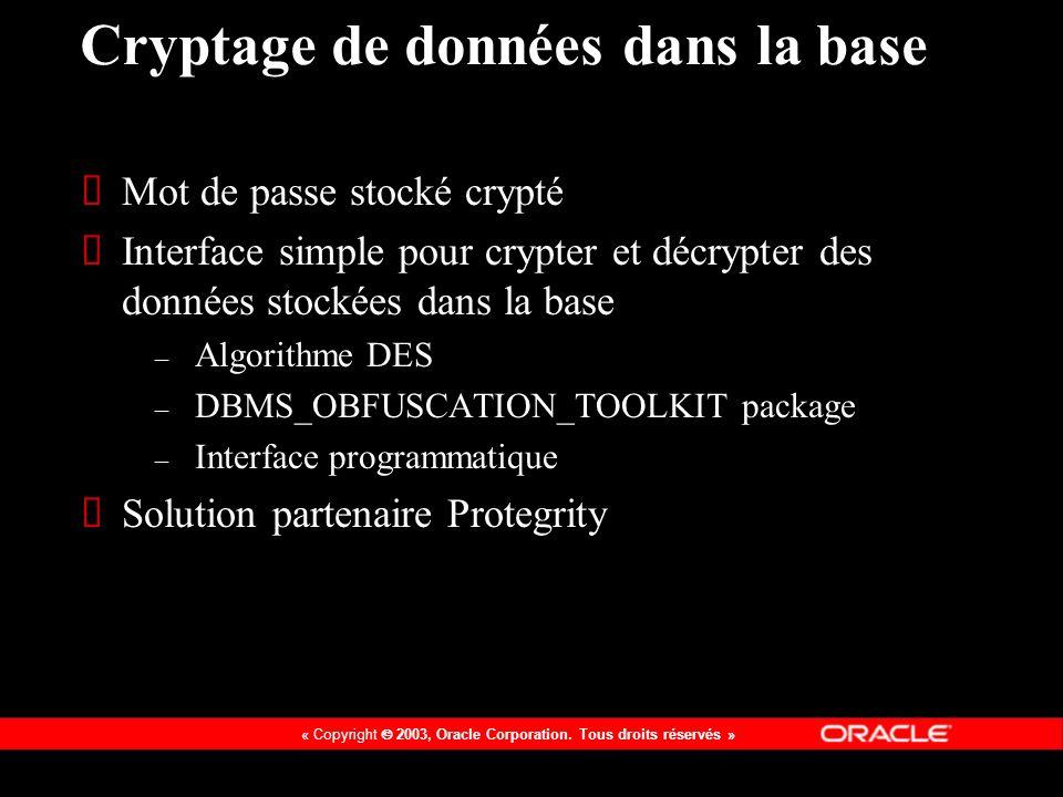 Cryptage de données dans la base