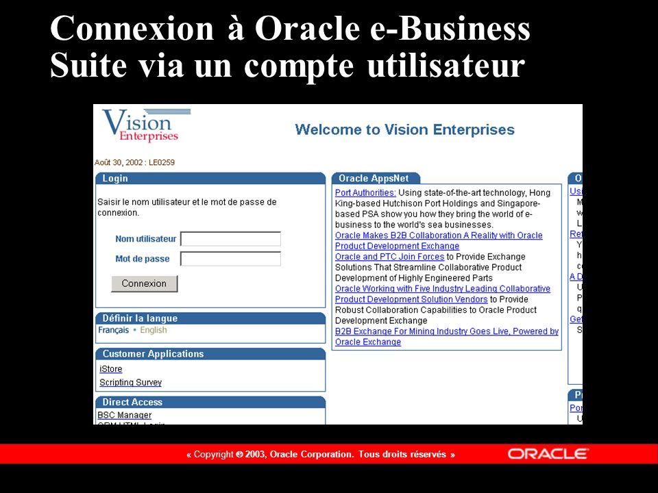 Connexion à Oracle e-Business Suite via un compte utilisateur